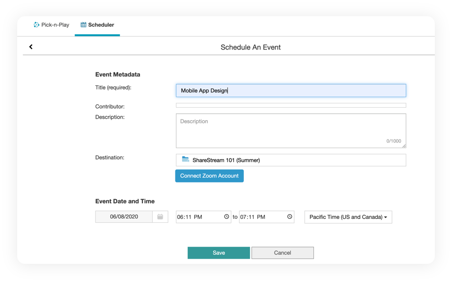 Scheduling a recording using ShareStream